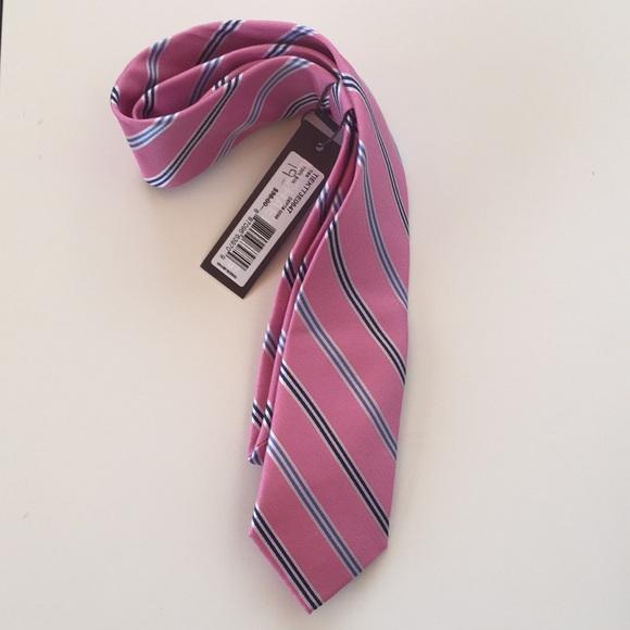 Michael Kors Silk Pink Tie w/ Blu, Blk, White pins